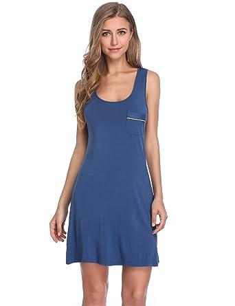 bf67aef49d26c9 Lusofie Damen Sommer Nachthemd Ärmellose Nachtwäsche Kurzes Nachthemden  Racerback Nachtkleid (700 Blau, S)