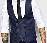 AugusWu Double Breasted Coutil Mens Slim Trim Fit Tuxedos Suits Vest