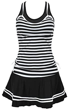 Eudolah Ladies Retro Stripes Swimming Costume Dress Plus Size