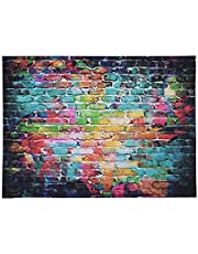 Andoer 1.5 X 2.1m/5 X 6.9ft Photography Backdrop Background Digital Printed Colorful Doodle Scribble Brick Wall Pattern for Kid Children Baby Newborn Portrait Studio Photography