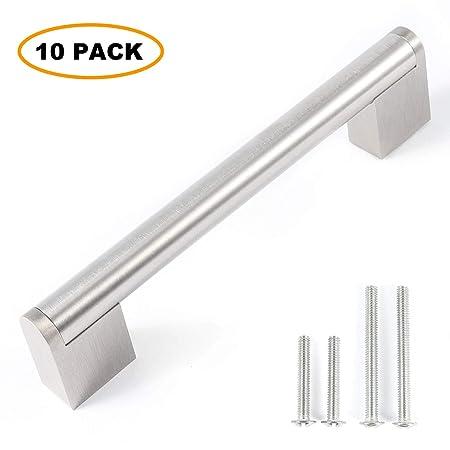 Brushed or Polished Chrome Kitchen Bathroom Cabinet Door Drawer Furniture Handles 128mm Hole Center, Brushed Chrome