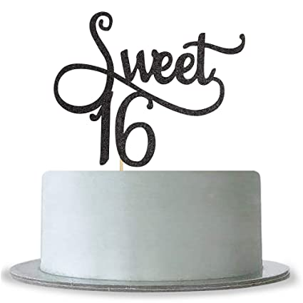 Amazon Black Sweet 16 Cake Topper
