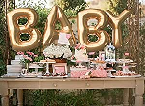 40'' Shiny Gold Baby Balloon Set: Letters Mylar Balloons for Unique and Stylish Party Decoration for Baby Shower, Birthdays, Anniversaries and Any Event Or Celebration, for Boys and Girls