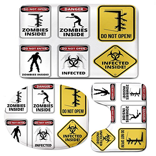3 Piece Bath Mat Rug Set,Zombie-Decor,Bathroom Non-Slip Floor Mat,Warning-Signs-for-Evil-Creatures-Paranormal-Construction-Do-Not-Open-Artwork,Pedestal Rug + Lid Toilet Cover + Bath Mat,Multicolor by iPrint