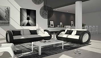 Sofa Garnitur Mit Kunstleder Bezug Weiß / Schwarz 230x92 Cm | Nassiono |  Design Couch