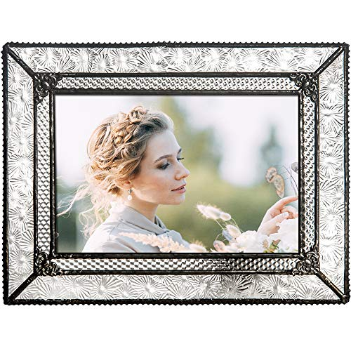 J Devlin Glass Art Pic 380-46HV Vintage Glass Picture Frame Tabletop 4 x 6 Photo Wedding Anniversary
