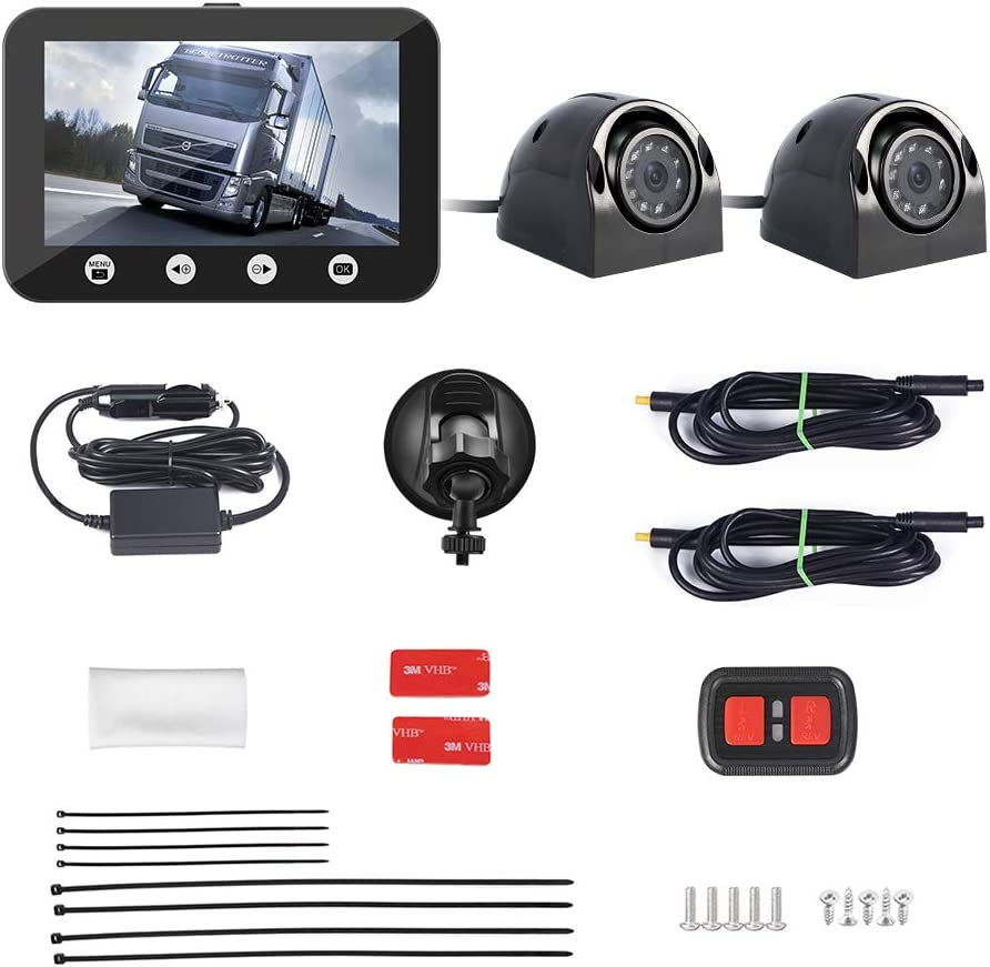 Vsysto Dual Camera Front Recording Dash Cam and Rear Backup Rearview reversing Camera Waterproof Lens,Night Vision,G-Sensor,Cameras for Trailer//Truck//Van//Tractor Rear View Camera Recorder DVR