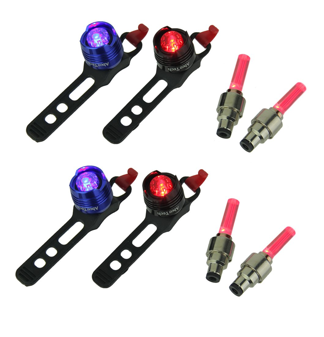 Abcotech Metal Bike Taillights Red and Blue Rear Led Bicycle Lights with Red Valve Wheel Lights Set of 2 4.25 X 1.25 X 1 Inches Red