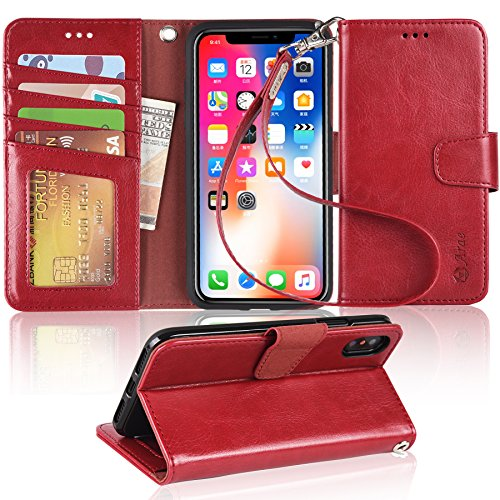 - Arae Case for iPhone X/Xs, Premium PU Leather Wallet Case [Wrist Straps] Flip Folio [Kickstand Feature] with ID&Credit Card Pockets for iPhone X (2017) / Xs (2018) 5.8