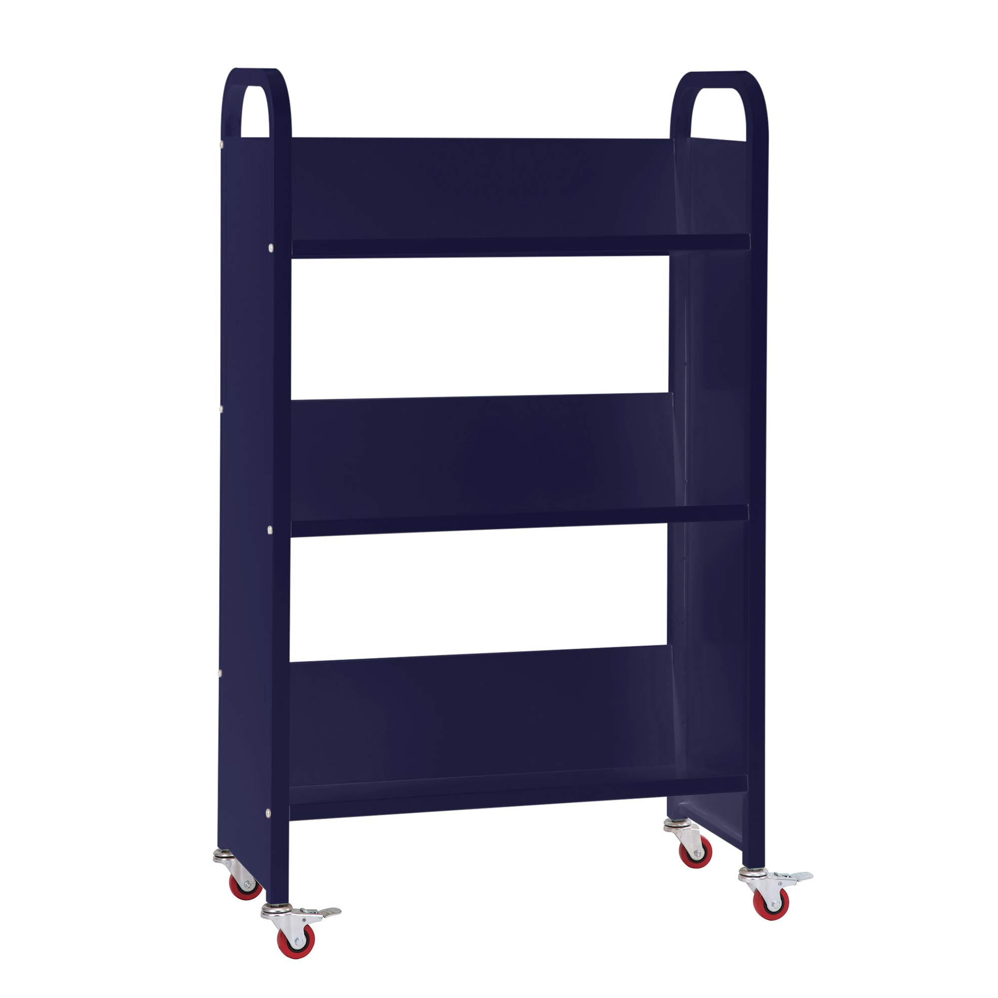 Guidecraft Heavy Duty Three-Shelf Narrow Book Truck - Dark Blue: Rolling Library Book Cart, School Furniture and Office Supply