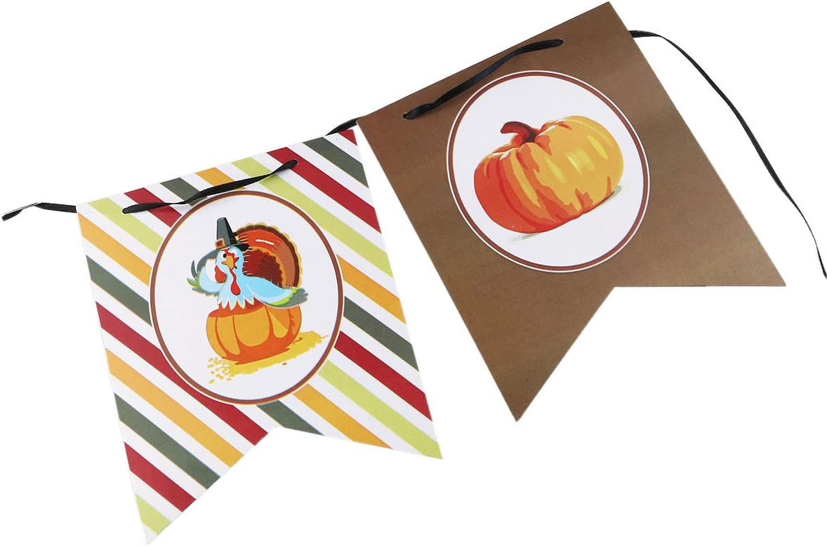 Thanksgiving Paper Banner Hanging Garland Banner Diy Thanksgiving Decorations with Black Silk Ribbon