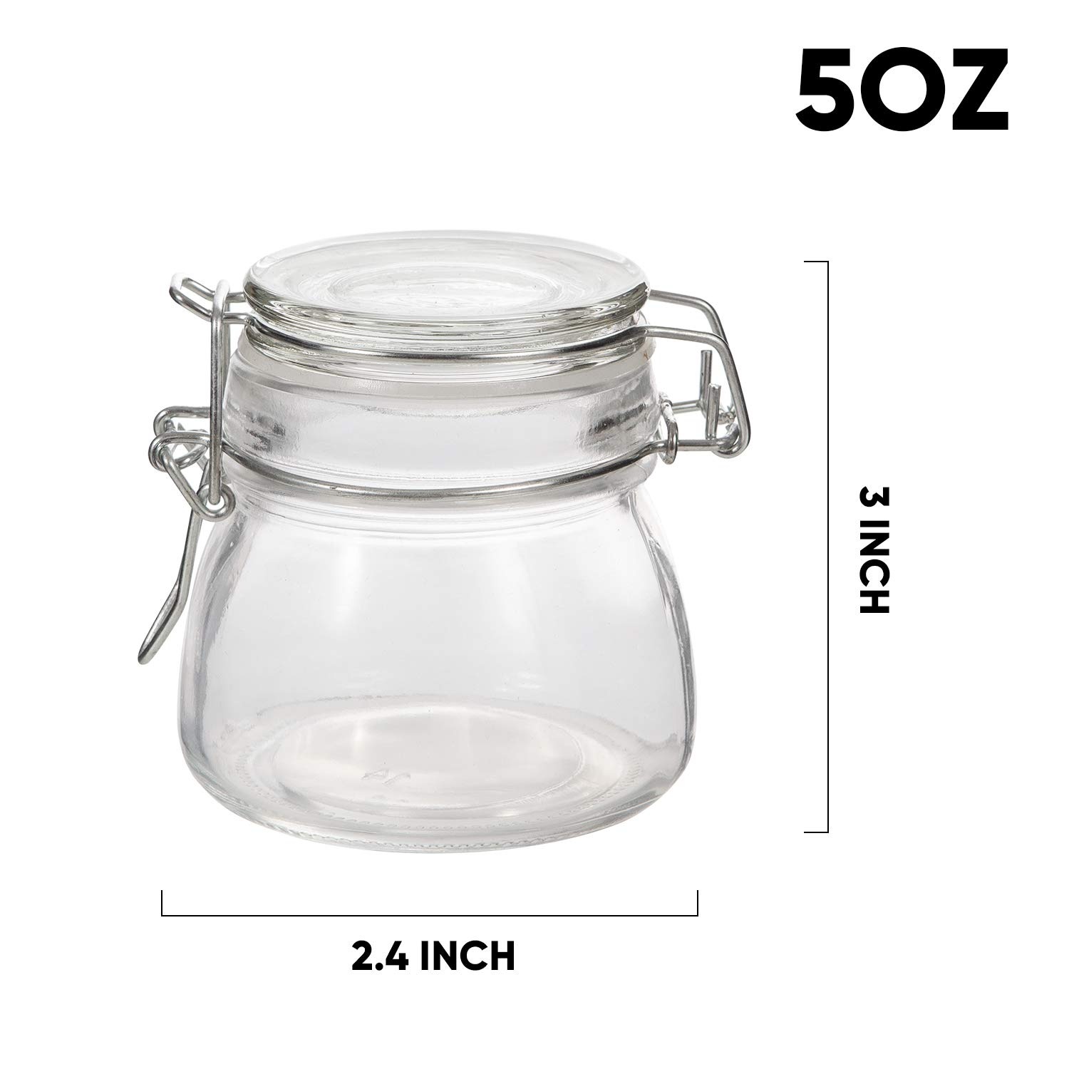 Mini Mason Jars,Accguan 5 OZ Glass Jars with Rubber Gasket and Hinged Lid,Small Canning JarsIdeal for storage,coffee,beans,sugar,snacks,candy,coookies,dry food,Set of 15 by Accguan (Image #2)