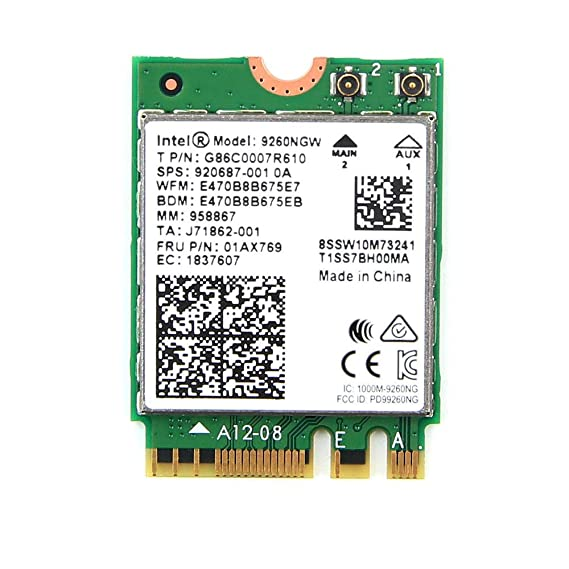 Intel Wireless-Ac 9260, 2230, 2X2 Ac+Bt, Gigabit, Vpro Network Interface Cards at amazon
