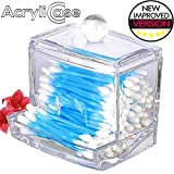 Bathroom Vanity Storage Clear Acrylic Swab Storage Case, Organizer For Cotton Swabs, Q-Tips, Make Up Pads, Cosmetics & More - For Bathroom & Vanity By AcryliCase