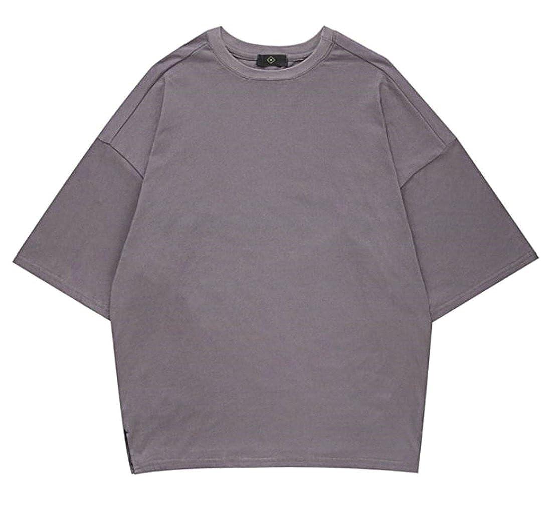 YULEgowinner Men Short Sleeve Plain Loose Oversize Solid Top Tee T-Shirts
