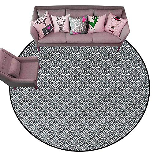"Office Chair Floor Mat Foot Pad Damask,Nature Victorian Revival Diameter 54"" Round Throw Rugs"
