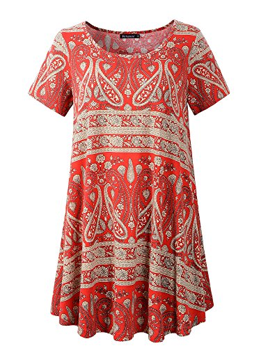 Veranee Women's Plus Size Swing Tunic Top Short Sleeve Floral Flare T-Shirt (X-Large, 56-5)