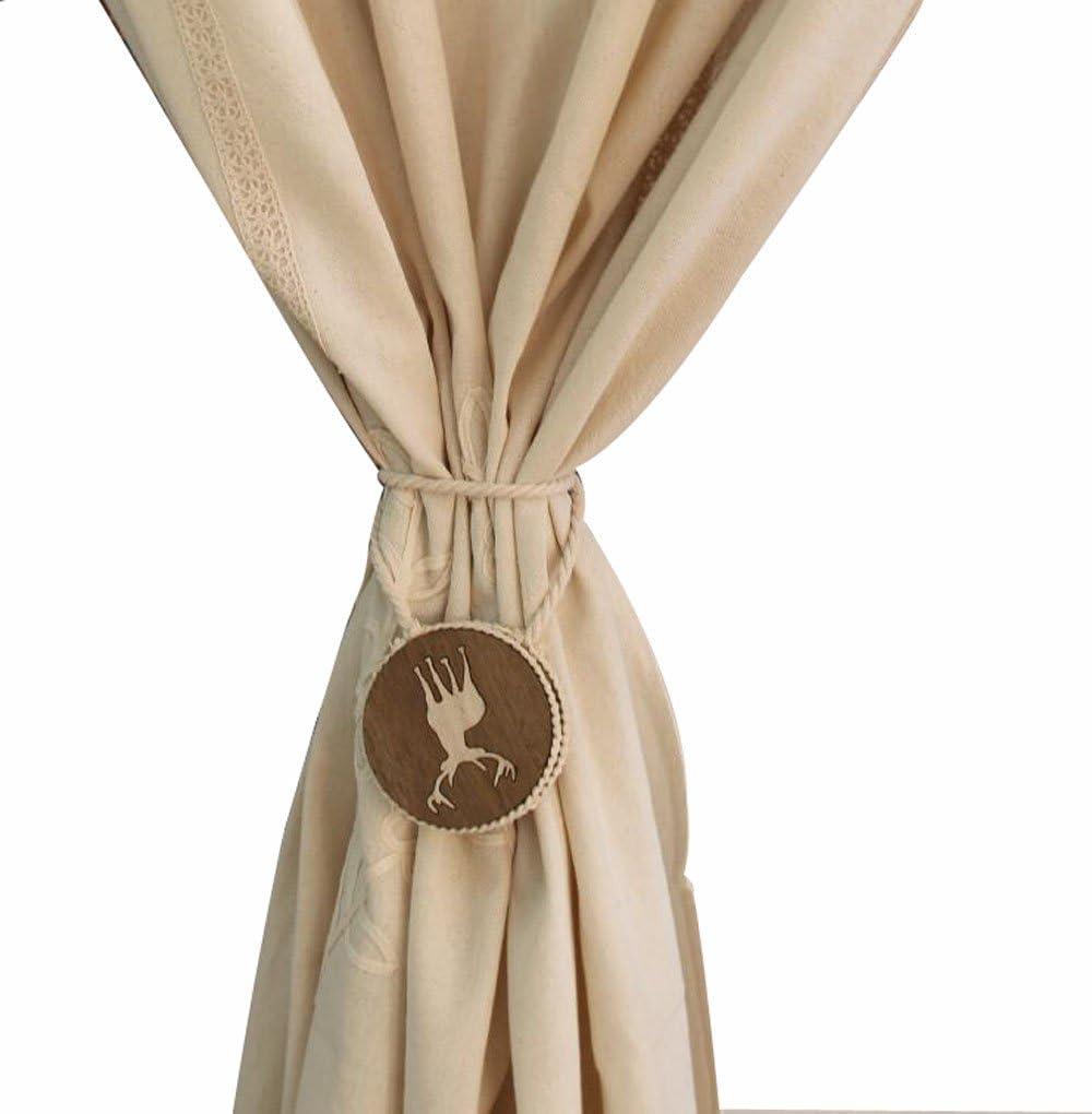 Fittoway une paire de fine /à la main Tied Rideau Clip Draperie Pompon Rideau Embrasses//Tassel fen/être Corde en coton Cravate Boule Dos Accessoires double boule Gris