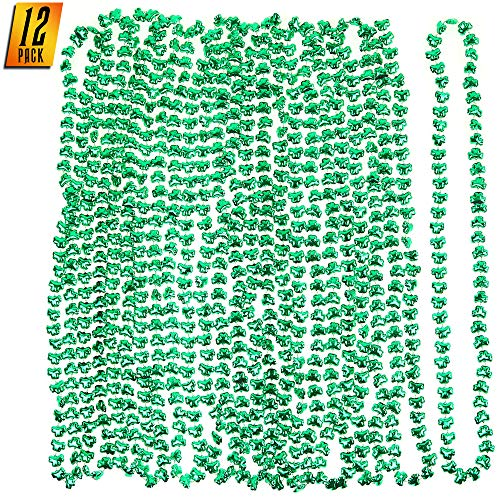 Skeleteen Green Shamrock Beads Necklaces - St Patrick's Day Irish Clover Bead Necklace Party Favors Pack - 1 Dozen