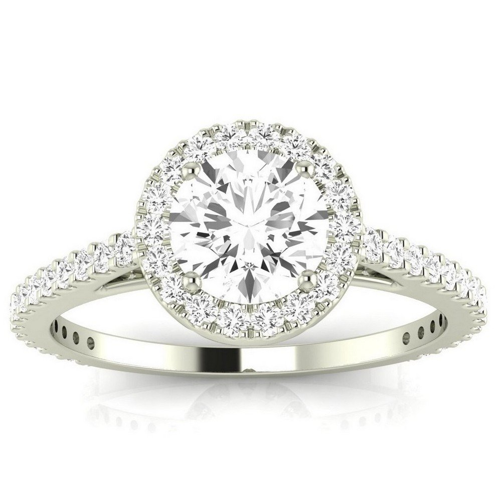 14K White Gold 0.99 CTW Classic Halo Style Pave Set Round Shape Diamond Engagement Ring w/ 0.59 Ct Round Cut H Color SI2 Clarity Center by Houston Diamond District