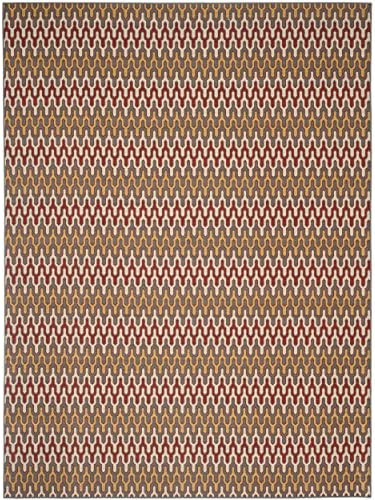 Safavieh Hampton Collection HAM518CD Dark Grey and Rust Indoor Outdoor Area Rug 8 x 11