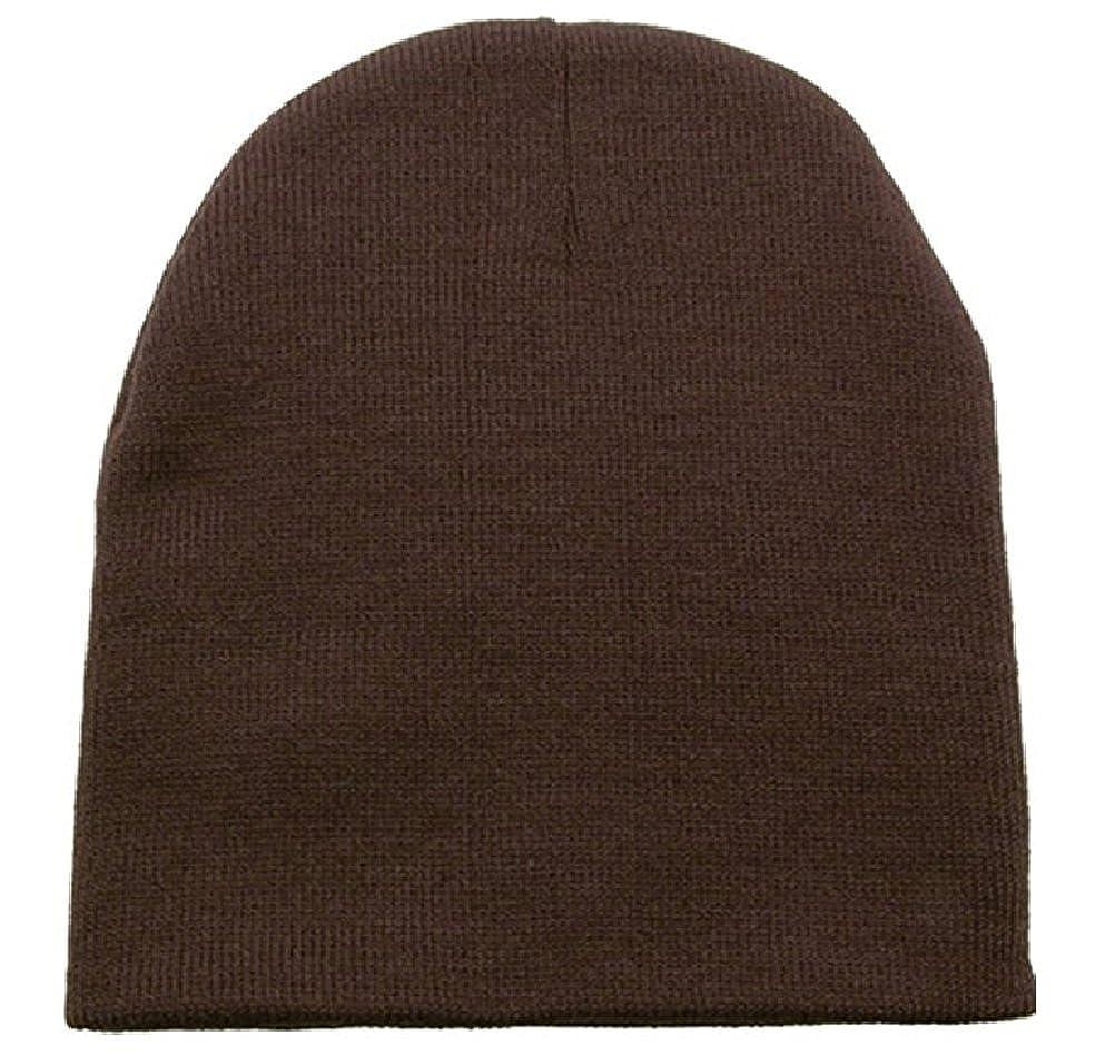 e59913789 Amazon.com: Dark Brown Knit Beanie Stocking Cap Winter Hat Mens ...