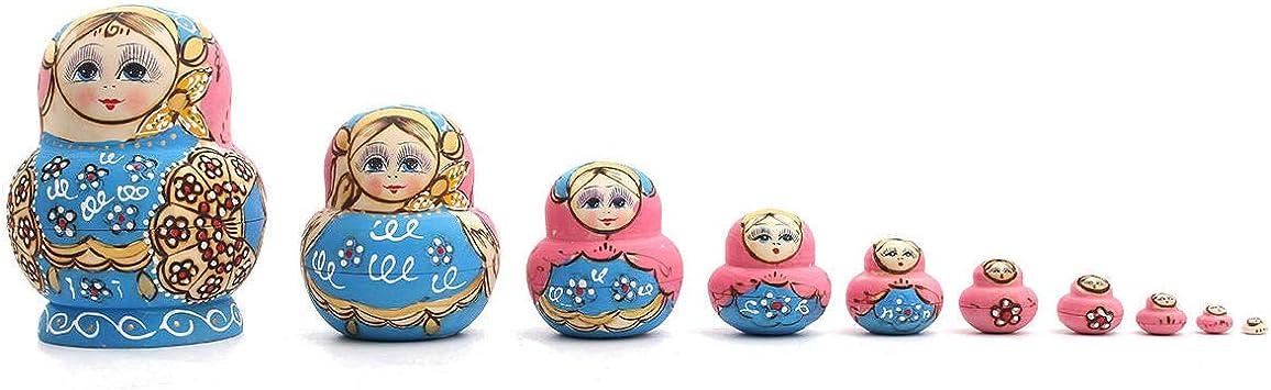 10pcs Wooden Penguin Painted Russian Nesting Doll Babushka Stacking Dolls