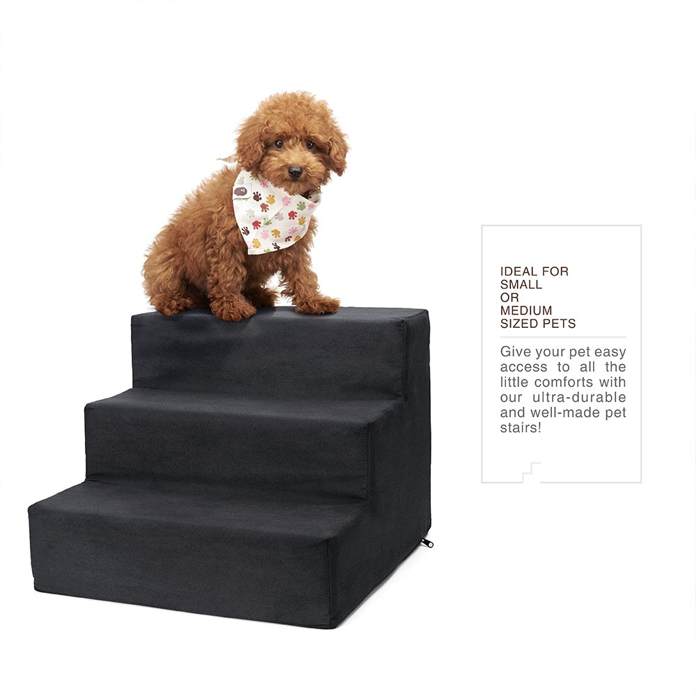 Delxo High Density Foam 3 Tier Pet Stairs,Comfy Micro Suede Pet Steps with Machine Washable Zippered Removable Cover with Anti-Slip Black Dot Bottom Loads 44lbs Black(3-Step, Black)