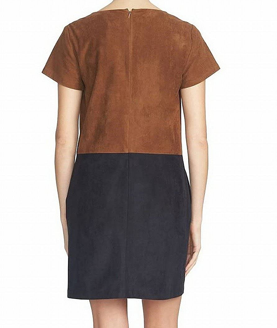 1.State Women s Small Faux-Suede V-Neck Shift Dress Brown S at Amazon  Women s Clothing store  adedecc2b