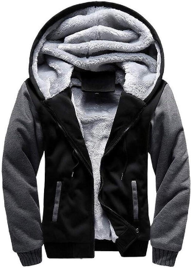 SHOWNO Men Color Block Warm Hoodie Sweatshirt Sport Fleece Thicken Zip Up Jacket Coat Outerwear