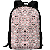 Casual Large College School Daypack, Laptop Outdoor Backpack, Travel Hiking& Camping Rucksack Pack For Geometric Texture Hearts Love Valentine Wedding Th(7098) Print Mode