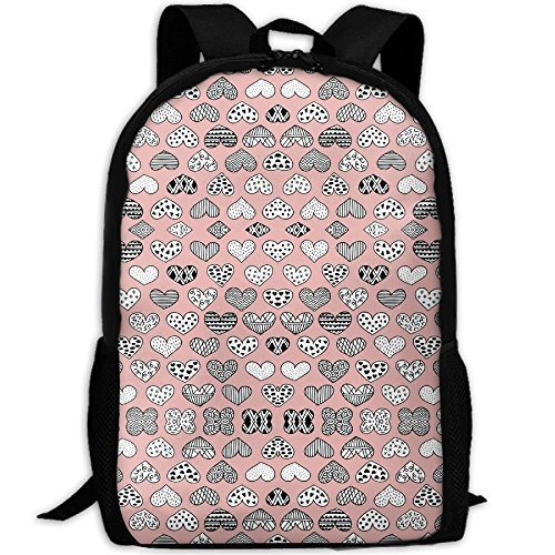 Casual Large College School Daypack, Laptop Outdoor Backpack, Travel Hiking& Camping Rucksack Pack For Geometric Texture Hearts Love Valentine Wedding Th(7098) Print Mode by SJNFAK