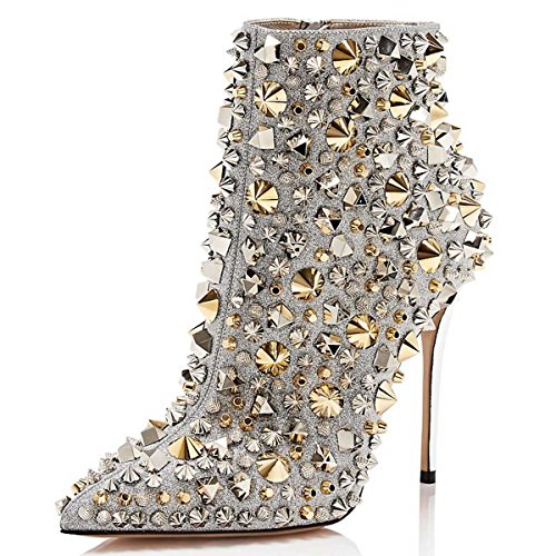 Stilettos Rivets Pointed Rivets Toe Heel with Fashion Size Zipper Women FSJ High Ankle 15 US Shoes Silver 4 Boots vW0fxqwC