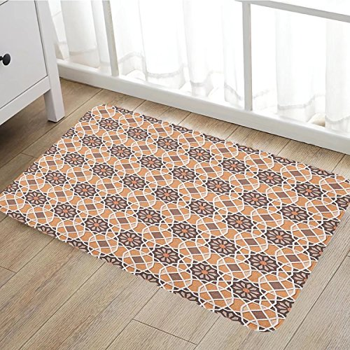 Oriental door mat indoors Floral Arrangement Elements and Hexagons with Middle Eastern Inspirations Customize Bath Mat with Non Slip Backing16
