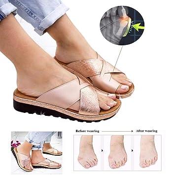 Weiche Hausschuhe Orthopädische Plattform Schuhe Summer Sandalen Laxey Große Bunion Keile Corrector Lackleder Damen Frauen Zehenkorrektur PnZN80kXwO