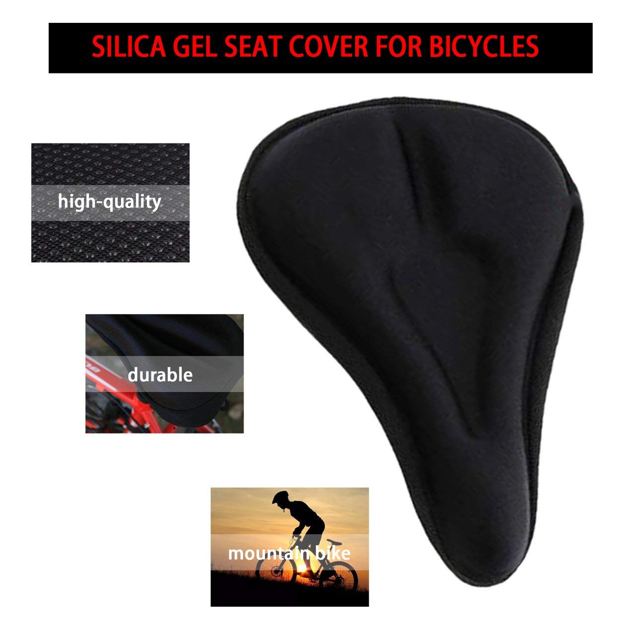 Black Jasnyfall Silicone Gel Thick Soft Bicycle Bike Cycling Saddle Seat Cover Cushion Pad