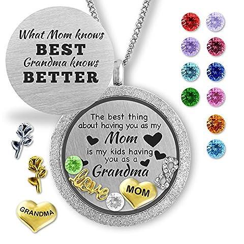 Birthstone Jewelry- Locket Necklace Memory Charms- Fashion Jewelry Gifts for Grandma & Mom - Mom Jewelry