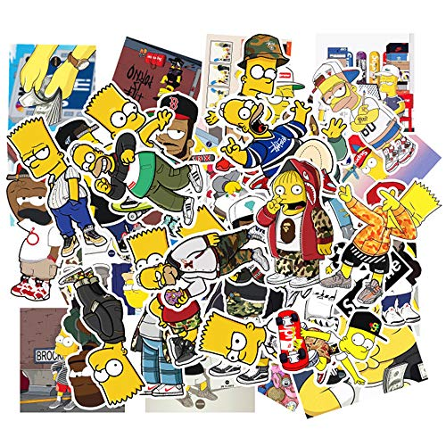 (50Pcs The Simpsons Waterproof Vinyl Stickers for Water Bottles,Laptop,Kids,Cars,Motorcycle,Bicycle,Skateboard Luggage,Bumper Stickers Hippie Decals Bomb)