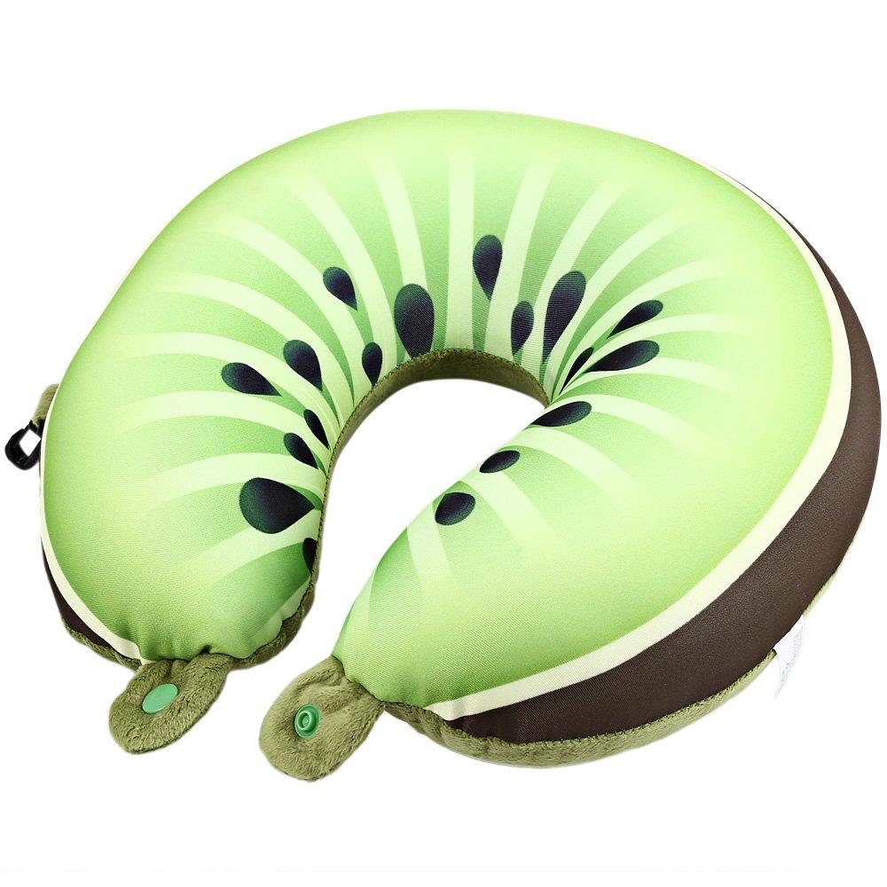 ポータブルのU型枕快適フルーツトラベルネック枕Foamパーティクルソフトクッションfor Officeホームフライト旅行 30.00 x 30.00 x 11.00 cm グリーン B078GKFTZQ Green Kiwi Berry Pattern