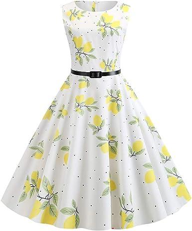 MERICAL Vestido de Mujer Vintage 1950s Retro sin Mangas de ...