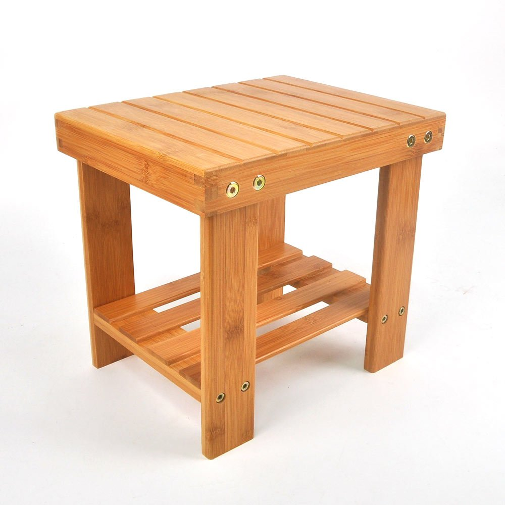 Lykos New Step Stool with Storage Shelf Multipurpose Kids Bamboo Stools Home Furniture