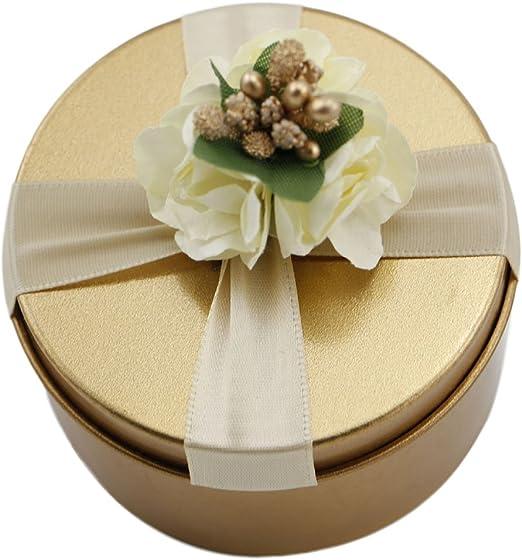 Dylandy Caja de dulces para boda, dulces, caja de metal dorado, caja de dulces, chocolate, azúcar, caja redonda para regalos, decoración de fiesta: Amazon.es: Hogar