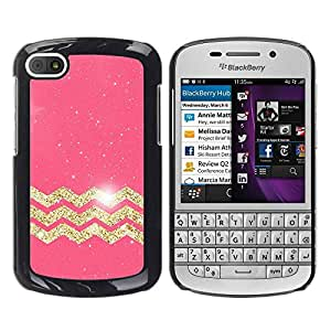 Paccase / SLIM PC / Aliminium Casa Carcasa Funda Case Cover - Gold Stars Pink Pattern Glitter - BlackBerry Q10