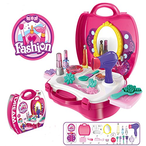 Makeup For Girls Pretend Play Dress up Toy Kit , 21 Pieces Beauty Salon Toys Make-up Box Full Funny Of Best Gift Set for Little (Best Dress Up For Girls)