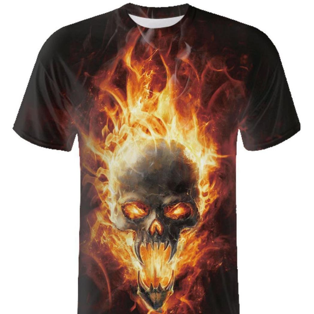 Usstore T-Shirts for Men Skull Print Tees Top O-Neck Short Sleeve Casual Cool Blouse