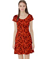 Womens Orange Rich Orange Fall Leaves Pattern Short Sleeve Skater Dress