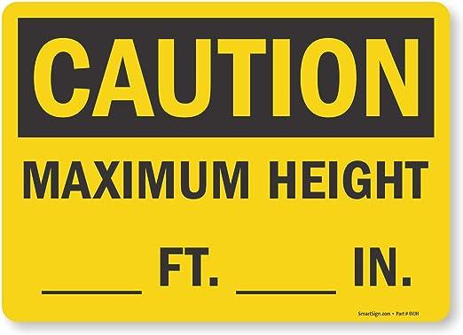 Caution Clearance Ft In Osha Metal Aluminum Sign