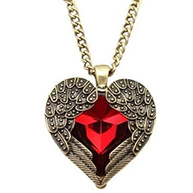 Amazon angel brand vintage jewelry red gemstone heart love amazon angel brand vintage jewelry red gemstone heart love pendant long chain necklace angel wing red free jewelry mozeypictures Image collections