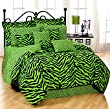 Lime Green Zebra Queen 13 Pc Bedding Set (Comforter, 1 Flat Sheet, 1 Fitted...