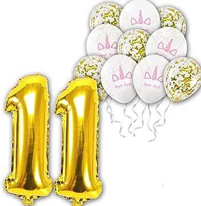12 pcs/set 11th Unicorn Theme white Latex balloons gold confetti balloon for Wedding Birthday Party Decoration Kids Rainbow Balloon Unicorn Party Supplies